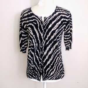 Ann Taylor black/ ivory  cardigan medium